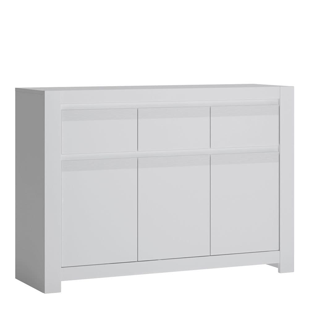Alita 3 Door 3 Drawer Cabinet in Alpine White
